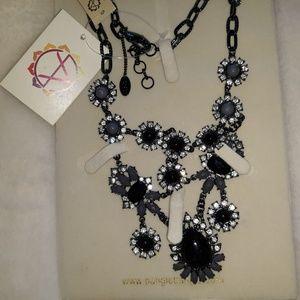 Austrian Crystal & Gunmetal Leah Bib  Necklace